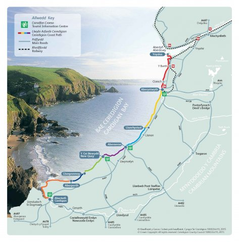 Carte du Coastal Path, Baie de Cardigan, Pays de Galles